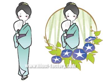 G130-2 和風・和装 着物の女性イラスト 夏