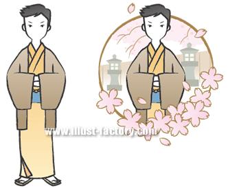 G130-5 和風・和装 着物の男性イラスト 春
