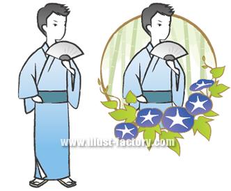 G130-6 和風・和装 着物の男性イラスト 夏