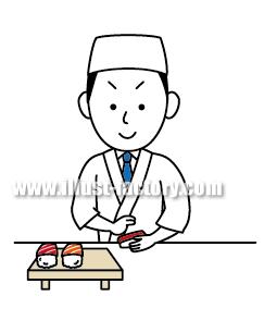 G138-03 日本食 寿司職人イラスト制作