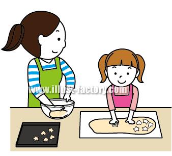 G138-06 親子でお菓子を作るイラスト制作
