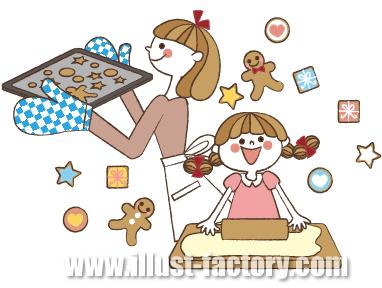 G139-01 親子でクッキーを作るイラスト制作