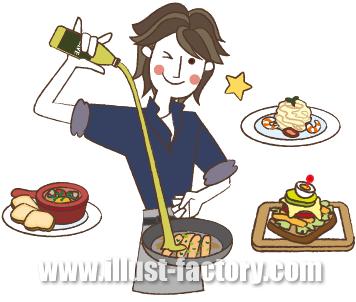 G139-03 料理する男性イラスト制作