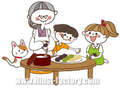 G139-04 団子を作るおばあさんと子供イラスト制作