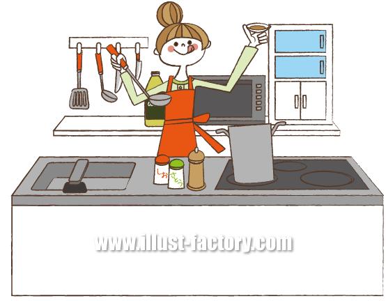 G139-05 料理する女性イラスト制作