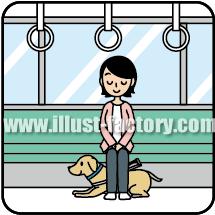 G144-03 盲導犬イラスト 電車に乗る