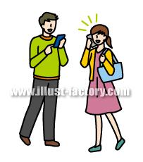 G146-01 携帯電話、スマートフォンを利用する人物