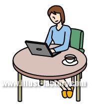 G146-04 ノートパソコンを操作する女性イラスト