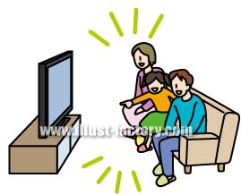 G146-03 テレビを見る家族イラスト