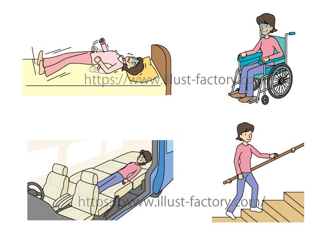 G16-18 車椅子、リハビリイラスト