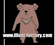 G163-13 月の輪熊(ツキノワグマ)のイラスト