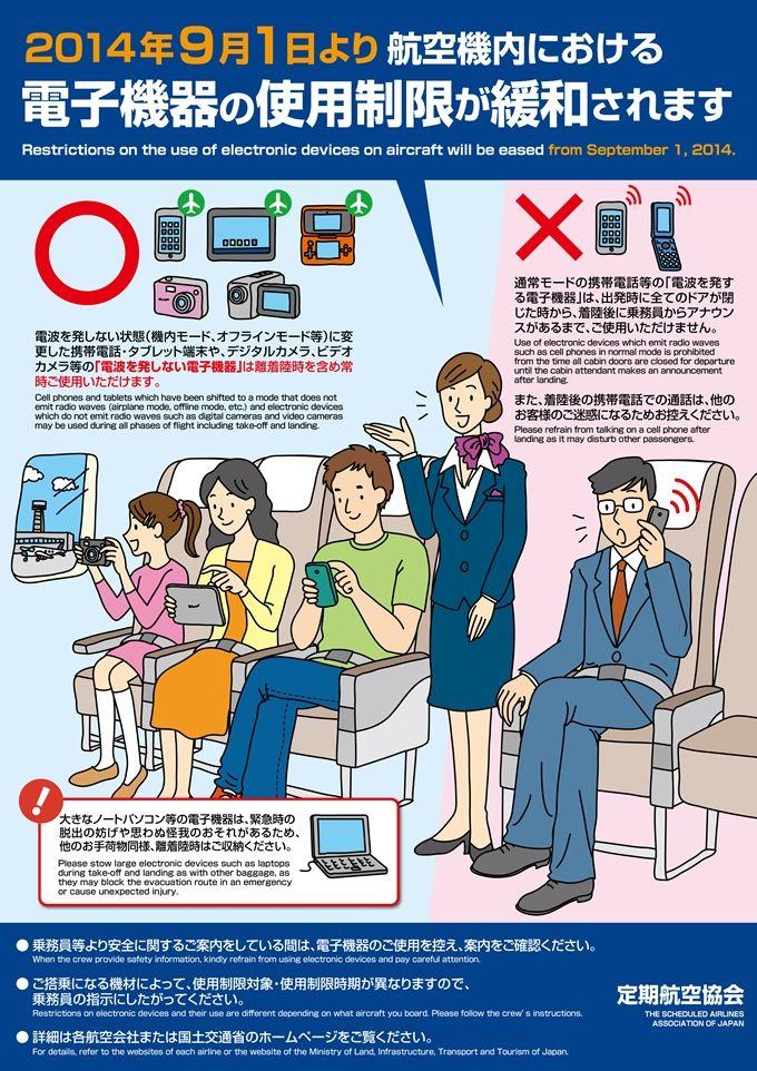G171-01 航空機内への電子機器持ち込み制限の説明イラスト