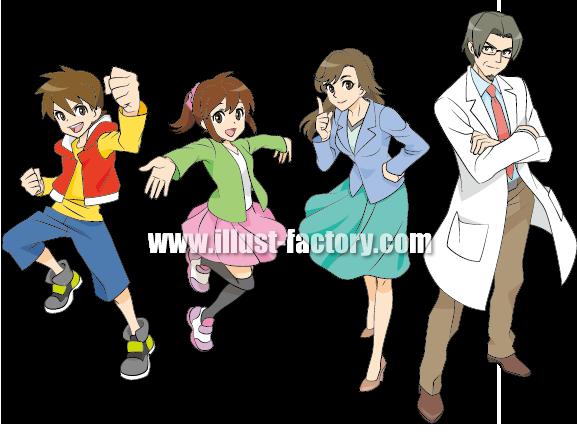 G173-02 少年、少女、教師、博士イラスト