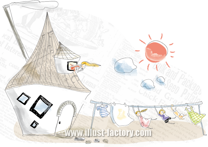 G174-04 海外系イラスト制作 家と洗濯物