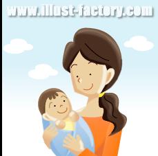 G17-11 赤ちゃんと母親のイラスト