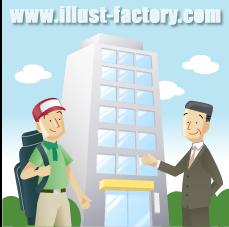 G17-14 社屋ビルとビジネスマン