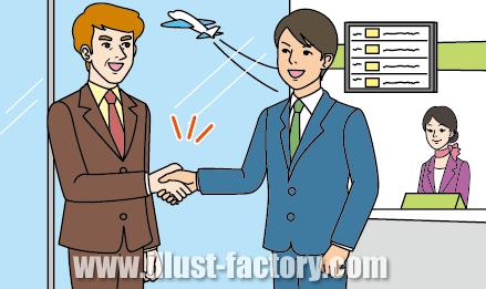 G180-04 ビジネスシーンイラスト制作 空港で握手