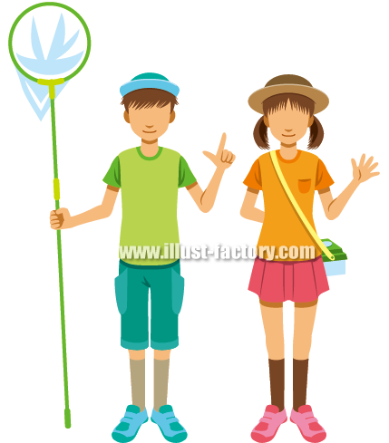 G184-07 昆虫採集をする子供イラスト