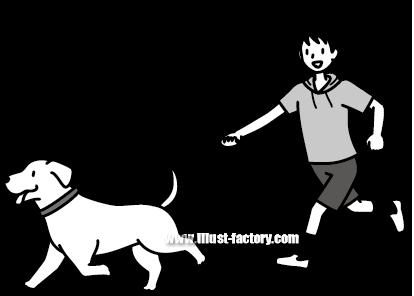 G185-13 犬の散歩をする子供イラスト