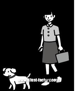G185-14 犬を散歩する子供イラスト