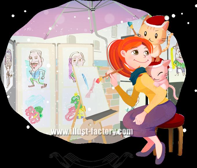 G187 シーンイラスト 絵を描く女性