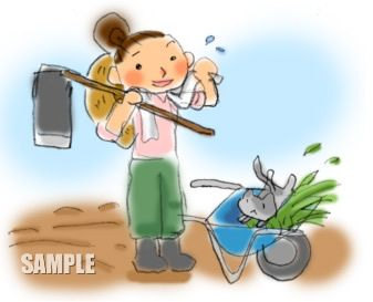 G19-03 農業 鍬と一輪車挿絵