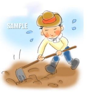 G19-06 農業 鍬で耕す男性挿絵