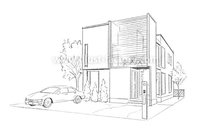 G204-01 一戸建て住宅 建築パース制作 外観