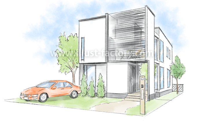 G204-02 一戸建て住宅 建築パース制作 外観
