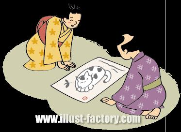 G219-03 江戸風イラスト 絵を描く子供