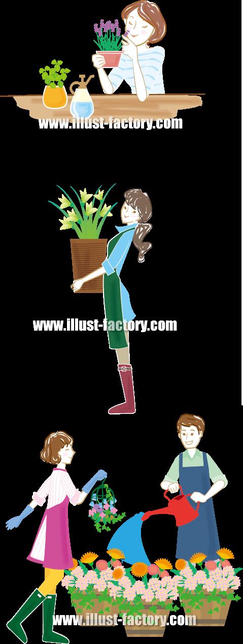 G225 ガーデニング、花屋の男性女性の人物イラスト
