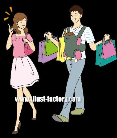 G231-02 家族イラスト 抱っこ紐でショッピング