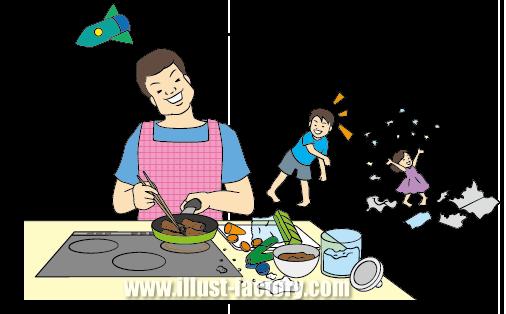G231-03 家族イラスト 子守しながら料理