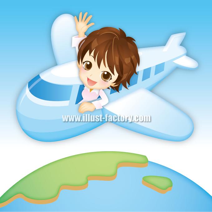 G243 飛行機と地球をめぐる女性