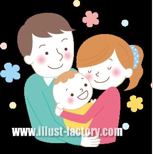 G245-01 家族イラスト 赤ちゃんと両親