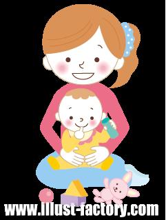 G245-02 親子イラスト 赤ちゃんと母親