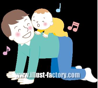 G245-03 親子イラスト 赤ちゃんと父親
