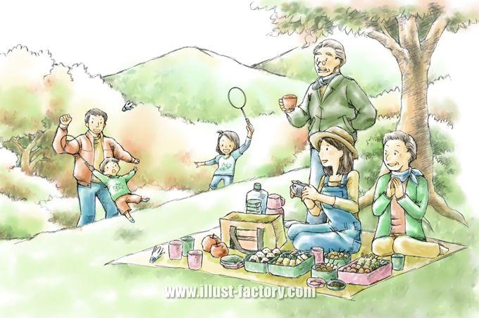 G250 ピクニックをする家族のイラスト