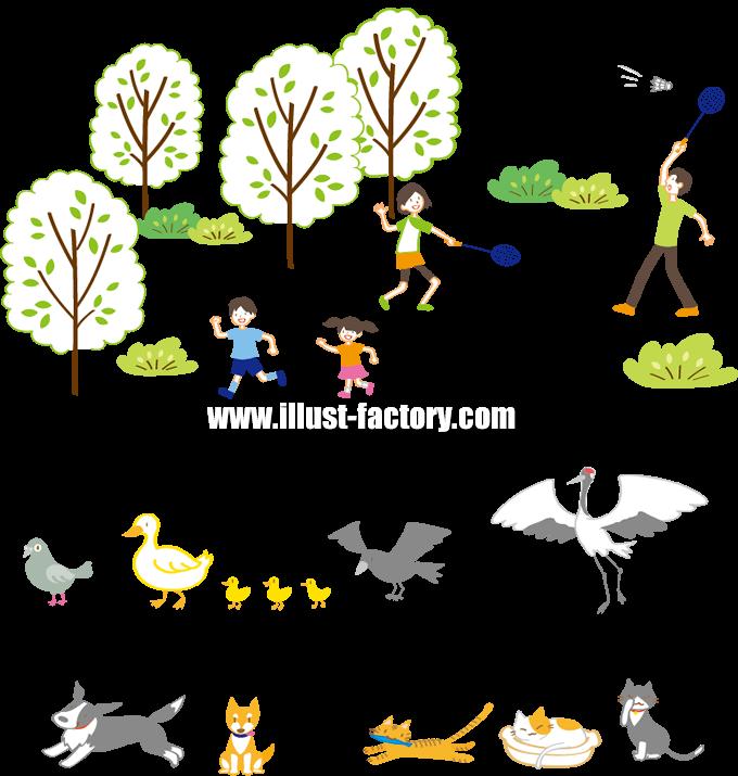 G258 公園、人物、鳥、犬、猫イラスト制作