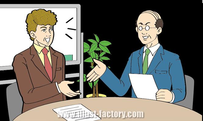 G260-03 外人年配者と日本人年配者が会社内で商談
