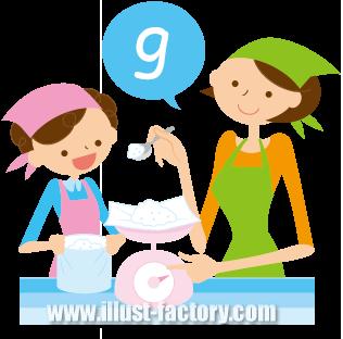 G274-02 計量する親子のイラスト