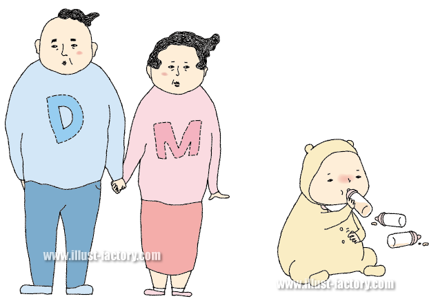 G276-01 赤ちゃんのいる家族のイラスト