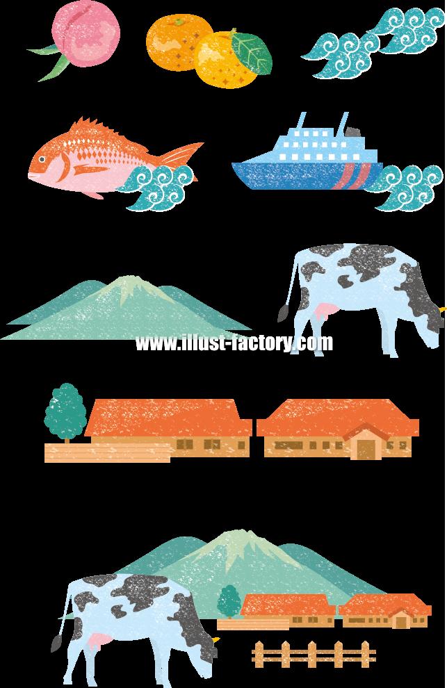 G281 版画風イラスト 果物 魚 牛 牧場 船 鯛