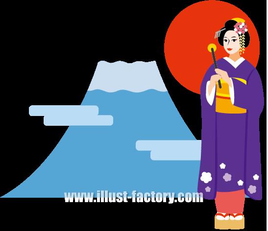 G288-01 日本イメージ 富士山 舞妓