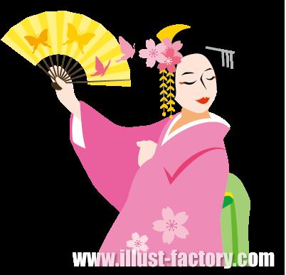 G288-02 日本イメージ 舞妓 日本舞踊