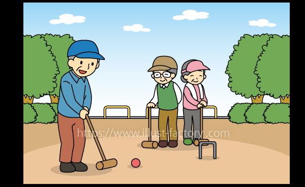 G28-06 ゲートボールを楽しむ老人