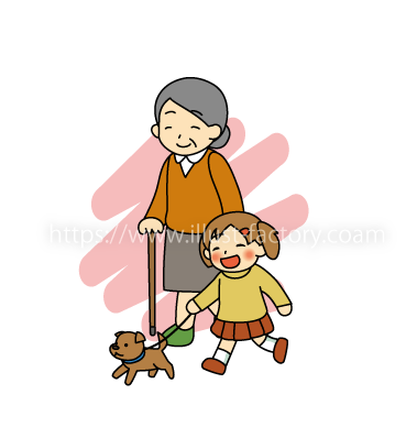 G28-08 おばあさんと孫が犬を散歩するシーン