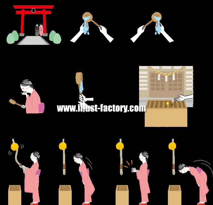 G293-06 神社のお詣り方法イラスト