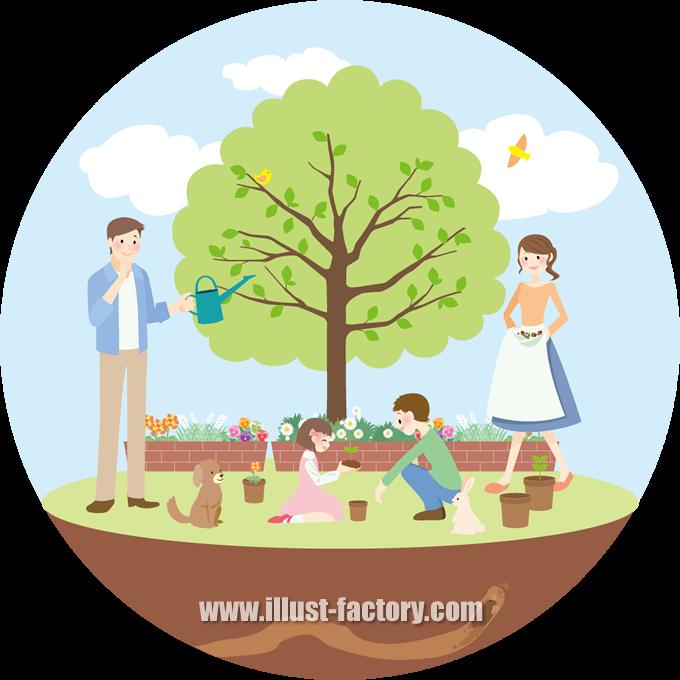 G297 植物を育てる家族のイラスト