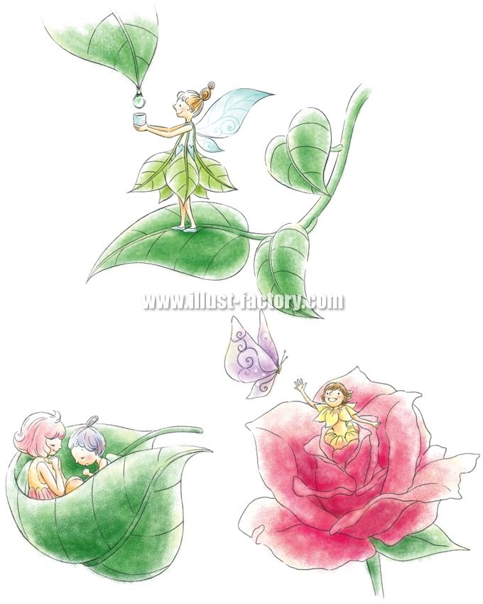 G303-1 妖精・バラ・葉っぱのイラスト